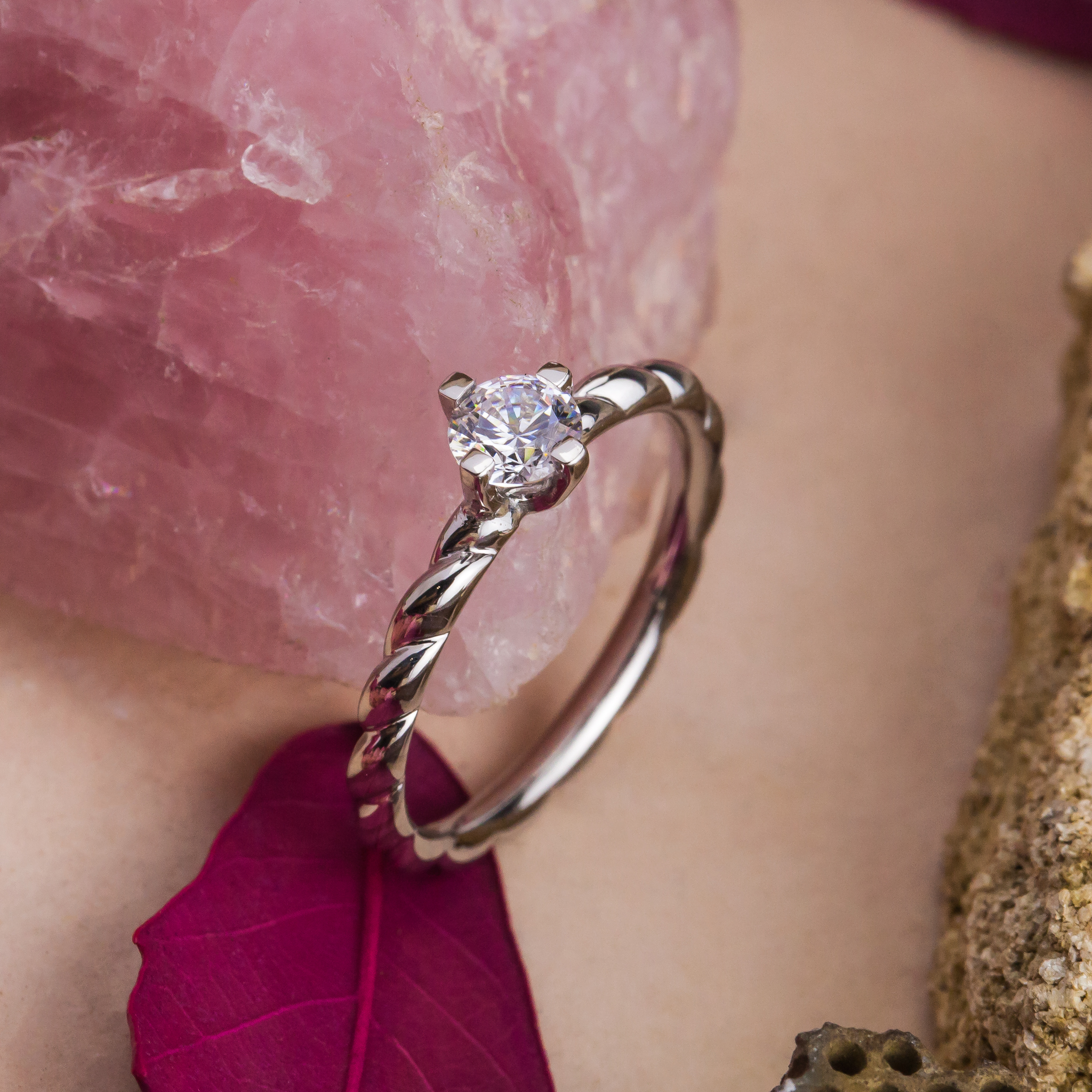 Zehava InelLogodna AurAlb18K DiamantNatural 1